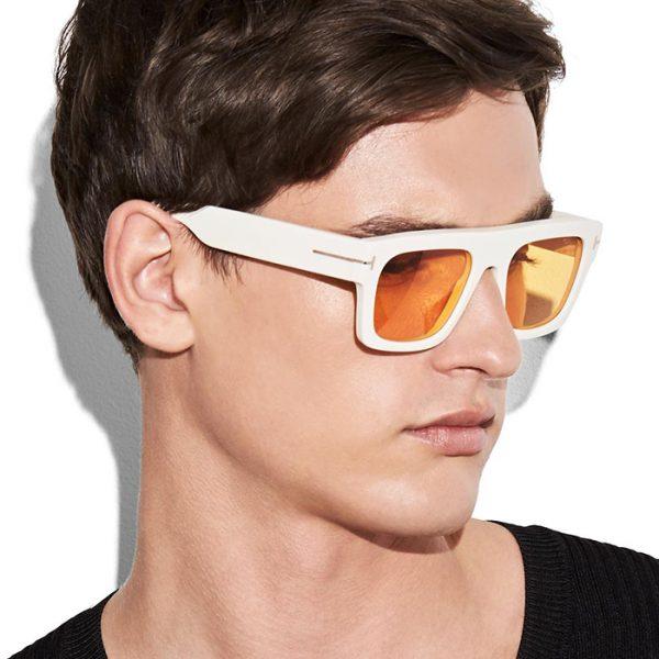 Tom Ford Fausto: Gafas de sol cuadradas con montura de acetato enriquecida con metal