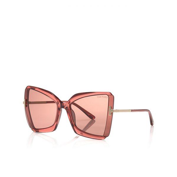 Tom Ford: Gio, Gafas de sol Mariposa con montura geométrica de metal y acetato